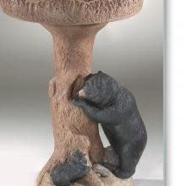 BATHS MASSARELLIS STONE BEAR BIRD BATH DETAILED STAIN 9265-DS