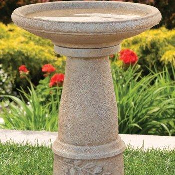 BATHS MASSARELLIS STONE TUSCAN SUN BIRD BATH GREEN MOSS 9726-35
