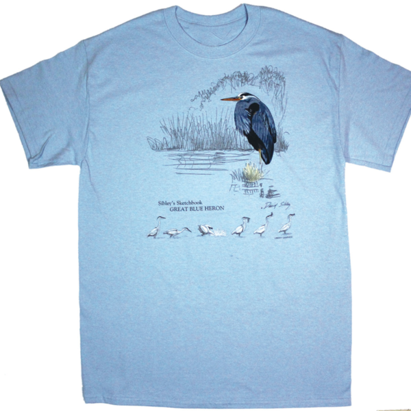 CLOTHING MED LIBERTY GRAPHICS SIBLEY'S GREAT BLUE HERON ADULT TSHIRT S18 LBLUE