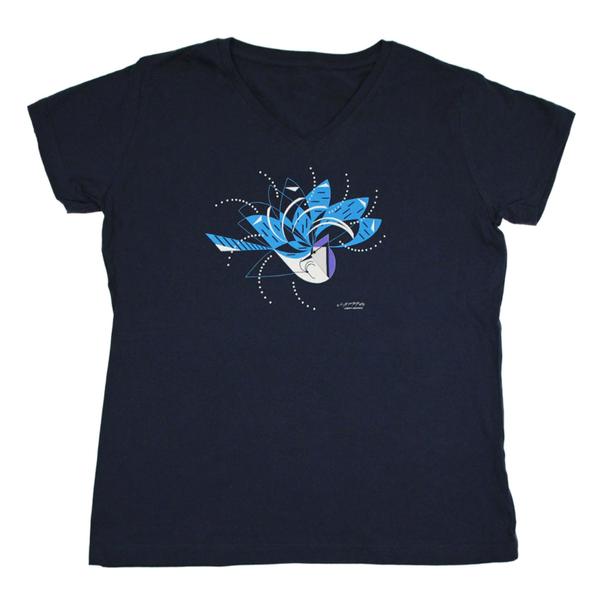 CLOTHING LG LIBERTY GRAPHICS CHARLEY HARPER BLUE JAY BATHING LADIES V-NECK TSHIRT H26 NAVY