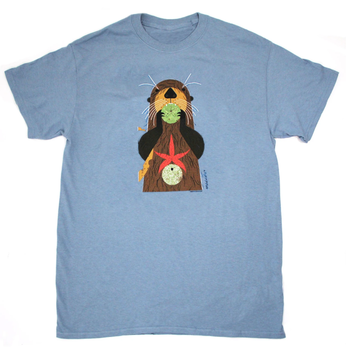 CLOTHING SM LIBERTY GRAPHICS CHARLEY HARPERS OTTERLY DELICIOUS ADULT TSHIRT H24 STONE BLUE