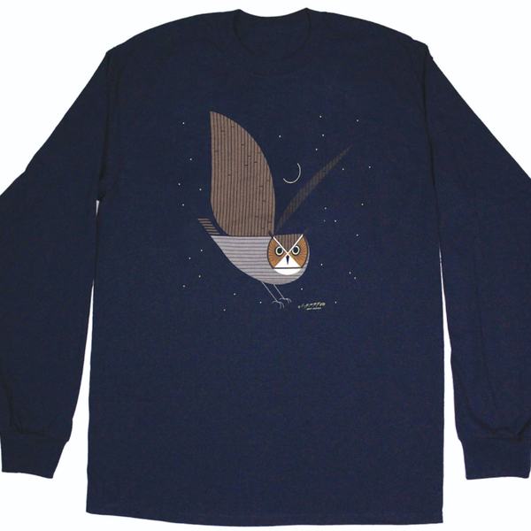 CLOTHING LG LIBERTY GRAPHICS CHARLY HARPER GREAT HORNED OWL ADULT LONGSLEEVE H25 NAVY
