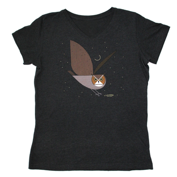 CLOTHING XLG LIBERTY GRAPHICS CHARLEY HARPER GREAT HORNED OWL LADIES V-NECK TSHIRT H25 CHARCOAL