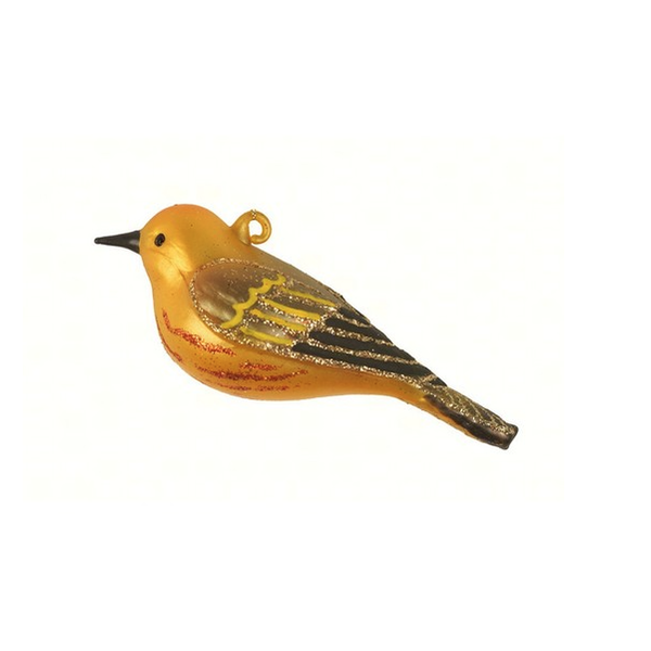 HHOLD COBANE YELLOW WARBLER GLASS ORNAMENT