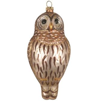 HHOLD COBANE BARRED OWL GLASS ORNAMENT
