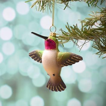 HHOLD COBANE FLYING MALE RUBY-THROATED HUMMINGBIRD GLASS ORNAMENT