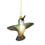 HHOLD COBANE FLYING FEMALE RUBY-THROATED HUMMINGBIRD GLASS ORNAMENT