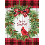 GARDEN EVERGREEN CHRISTMAS CARDINAL WREATH TEXTURED SUEDE ESTATE FLAG