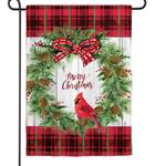 GARDEN EVERGREEN CHRISTMAS CARDINAL WREATH TEXTURED SUEDE GARDEN FLAG