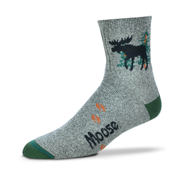 CLOTHING FOR BARE FEET SOCKS MOOSE SILHOUETTE MARBLE GREY LARGE