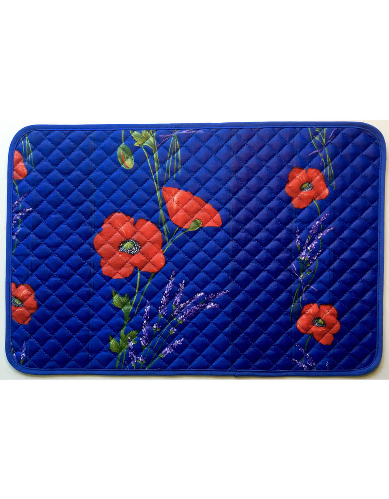 Placemat, Acrylic-Coated, Poppies Blue