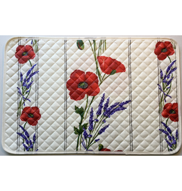 TOS Placemat, Acrylic-Coated Poppies, Ivory