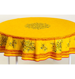 MFT Cotton Olives Yellow 70 inch Round