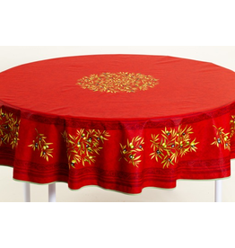 MFT Cotton Olives Red 70 inch Round