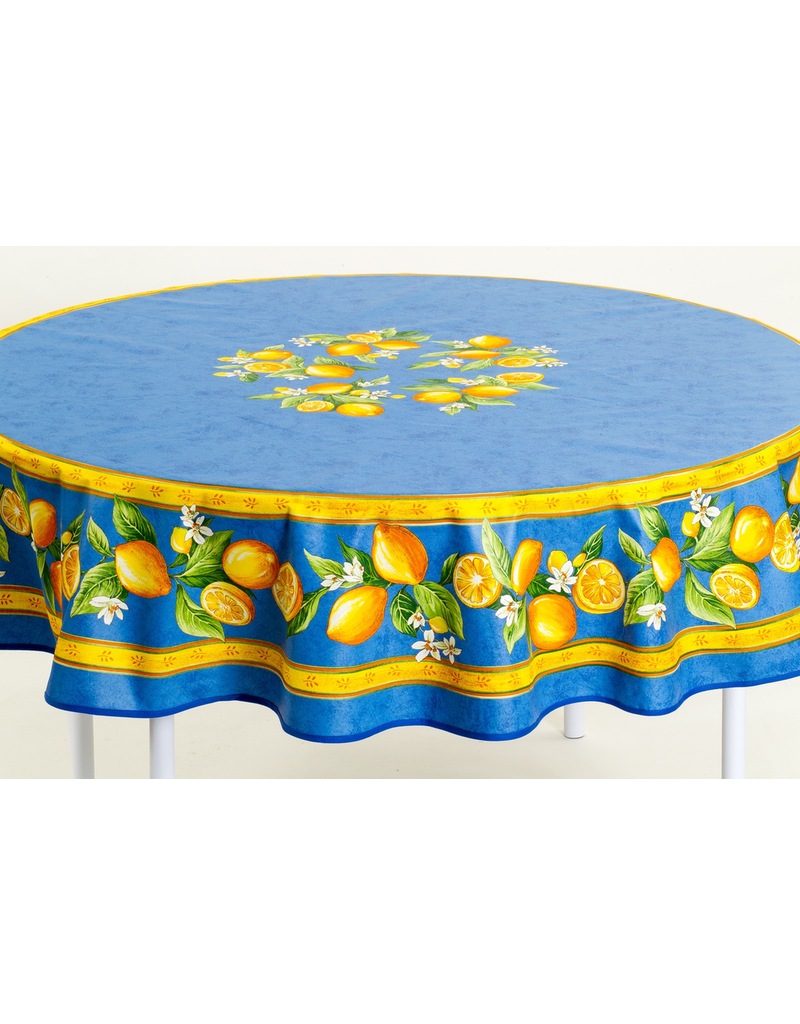 TOS Cotton Lemons Blue 70 inch Round
