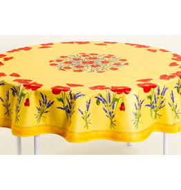 TOS Cotton Poppies Yellow 70 inch Round