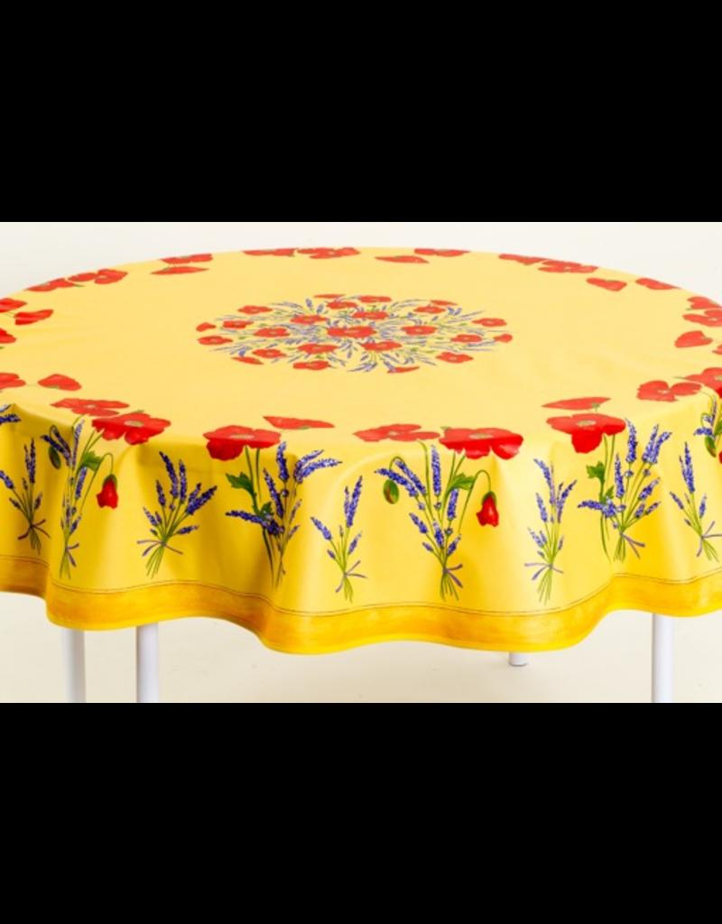 TOS Cotton Poppies Yellow 70 inch Round