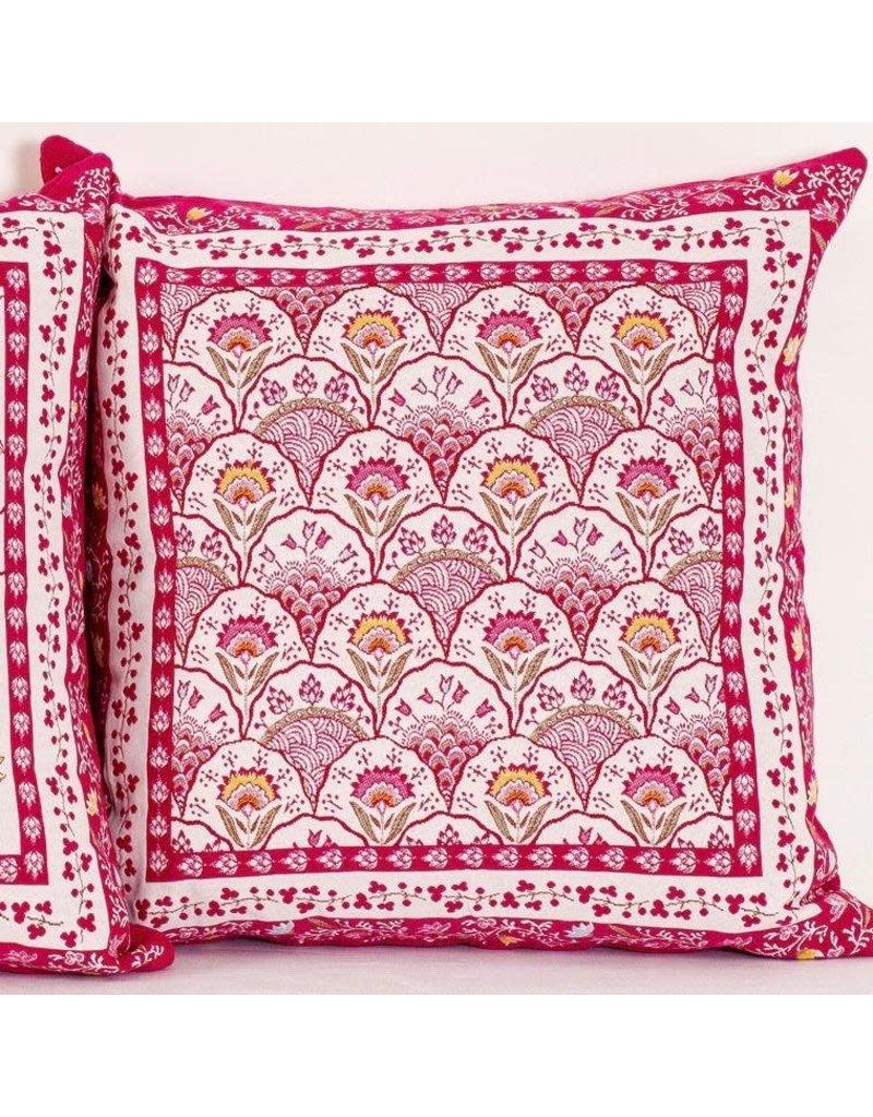 Montespan Jacquard, Fuchsia (Rose)/Ecru Pillow