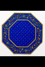Placemat, Octagonal, Calison Fleur Blue w/ Yellow