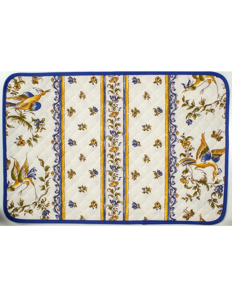 Placemat, Acrylic-Coated, Moustiers Blue