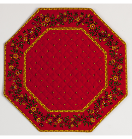 TOS Red w/ Red Calison Fleur Octagonal Placemat