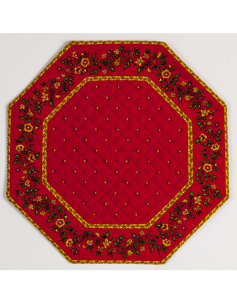 Placemat, Octagonal, Calison Fleur Red w/ Red