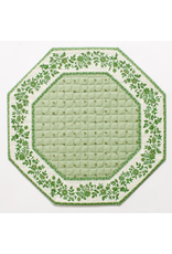 TOS Green w/ White Border Calison Fleur Octagonal Placemat