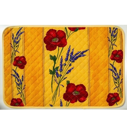 TOS Placemat, Acrylic-Coated Poppies, Yellow