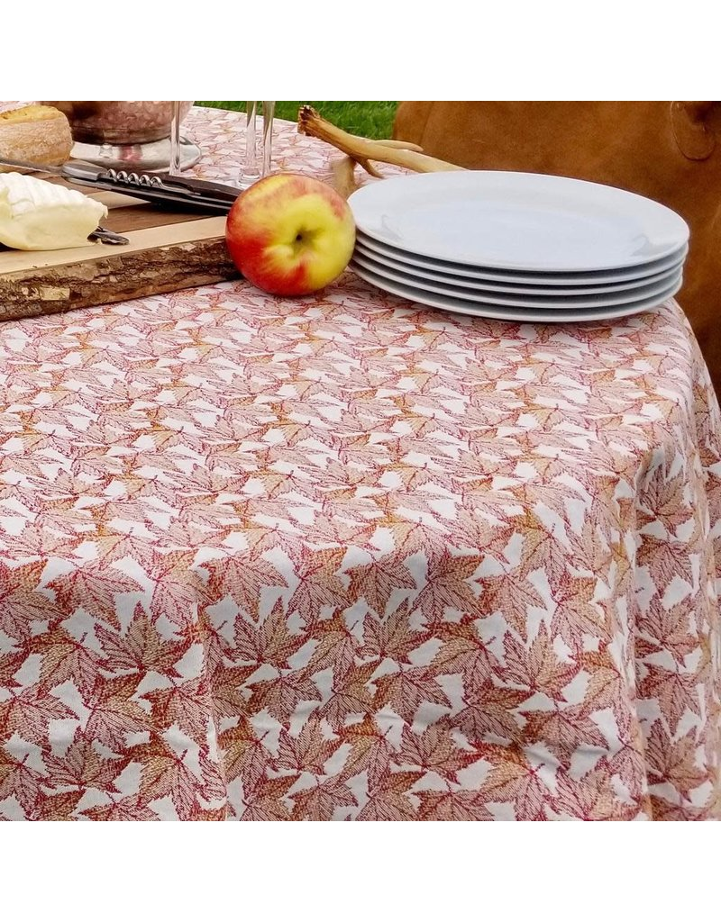 Autumn Leaves Jacquard Round, Red,