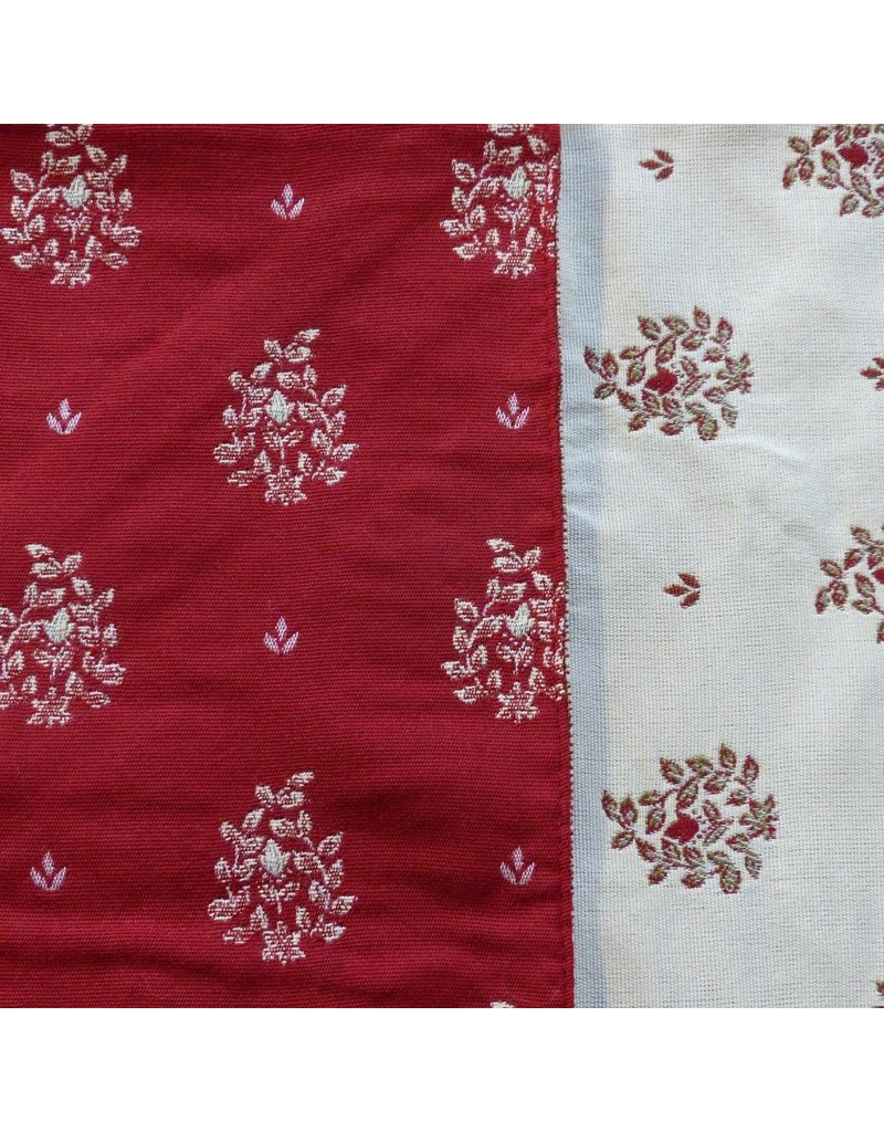 TOS Beaumaniere Jacquard, Red/Ecru, 55 in x 55 in