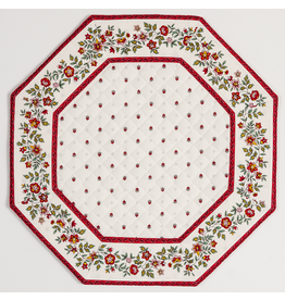 Placemat, Octagonal, Calison Fleur White w/ Red