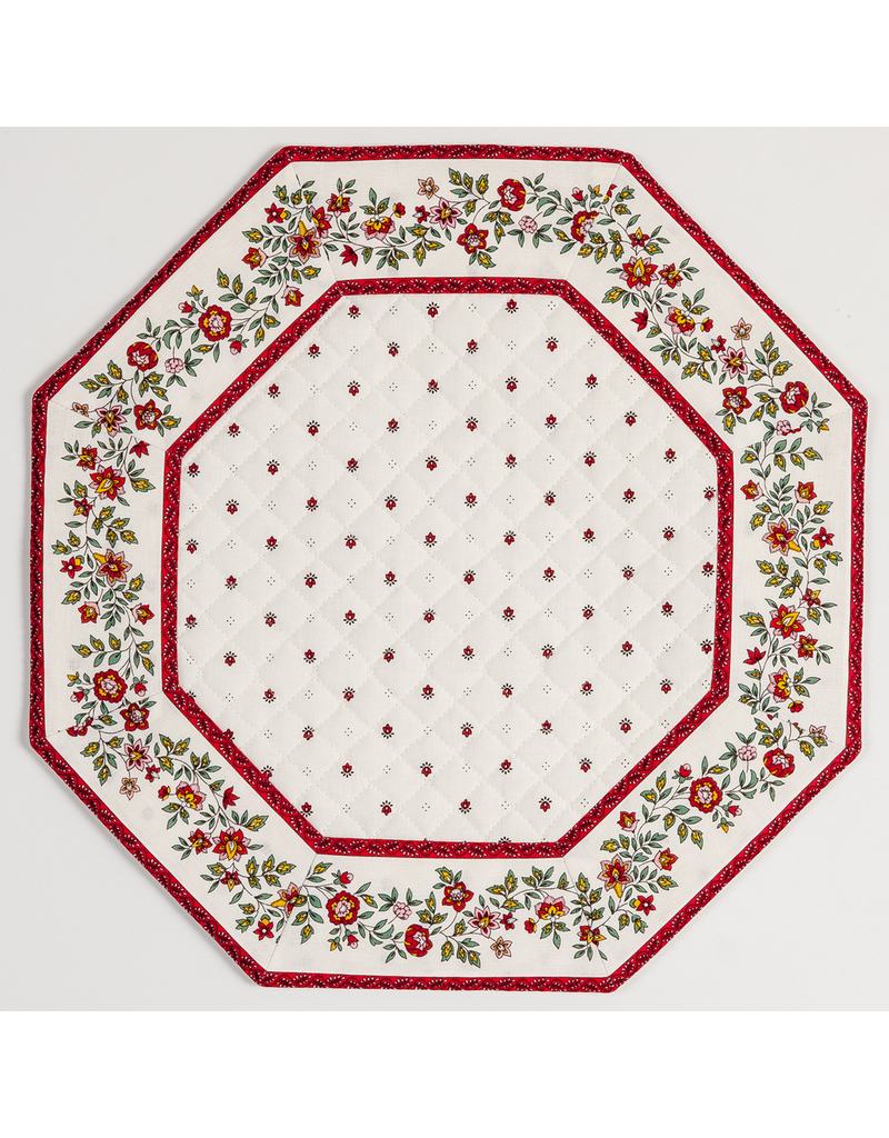 TOS White w/ Red Calison Fleur Octagonal Placemat