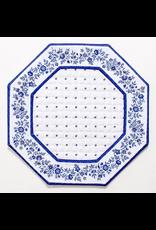 TOS White w/ Blue Calison Fleur Octagonal Placemat