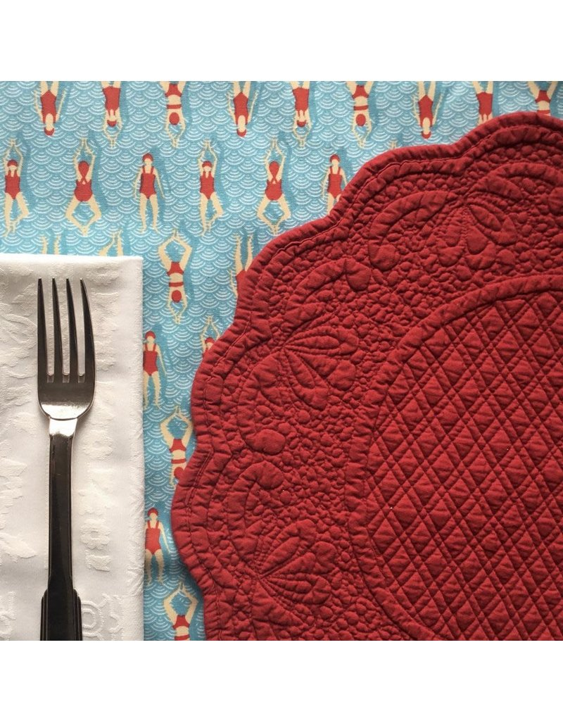 SAF Quilted Round Placemat, Red