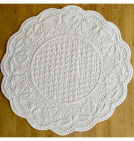 SAF Quilted Round Placemat, White
