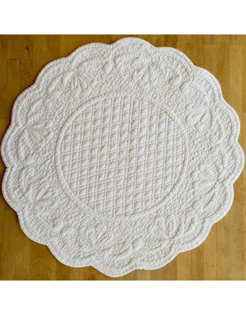 Placemat, Quilted Round, White