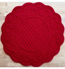 Placemat, Quilted Round , Red