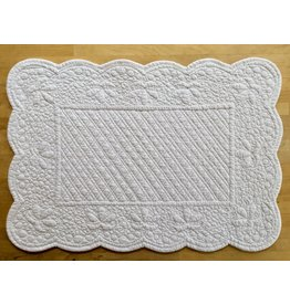 SAF Quilted Rectangle Placemat, White
