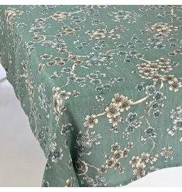 Japonica Flowers Linen, Green