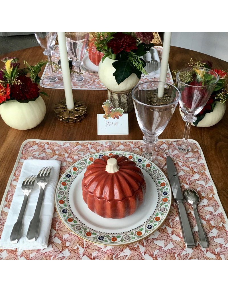 Placemat, Jacquard, Autumn Leaves Red
