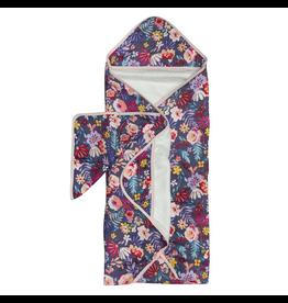 Loulou Lollipop Dark Field Flowers Hooded Towel & Cloth