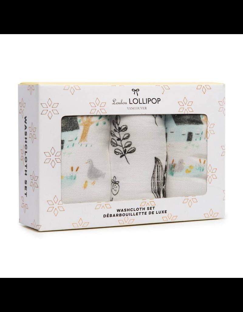 Loulou Lollipop Farm Animals Washcloth 3pk