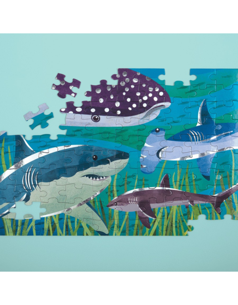 Mudpuppy Sharks Foil Puzzle, 5y+