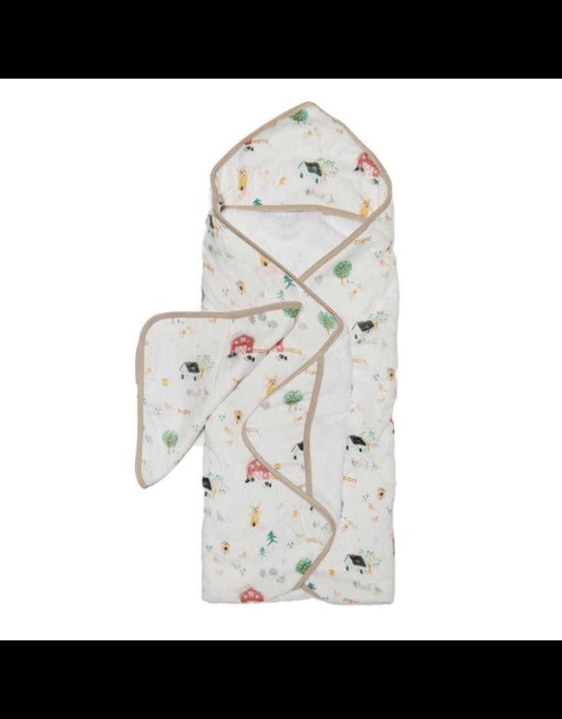 Loulou Lollipop Farm Animals Hooded Towel & Cloth