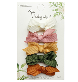 Baby Wisp Chelsea Bows Snap Clip Desert Spring 5pk