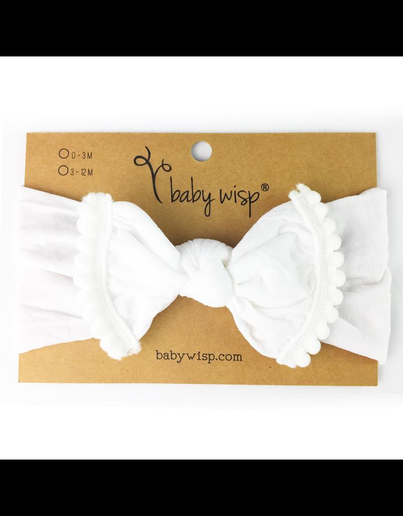 Baby Wisp Pom Pom Headband, White, 0-2y