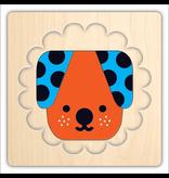 Mudpuppy Animal Faces 4 Layer Wood Puzzle, 2y+