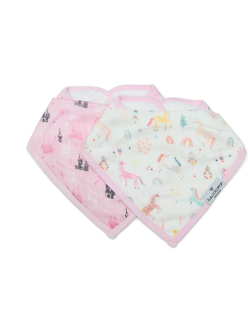 Loulou Lollipop Muslin Bandana Bib Set, Unicorn Dream, 2pk