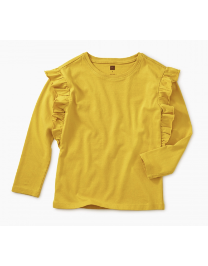 Tea Collection Goldenrod Solid Ruffle Sleeve Top Size 2