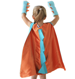 Dinosaur Orange Cape + Gloves, One Size